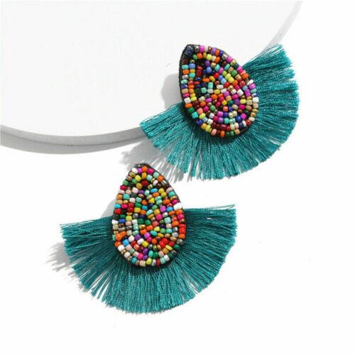 Bohême coloré Graines Perles Goutte Tassel Boucles d/'oreilles Big Statement Bijoux Décor