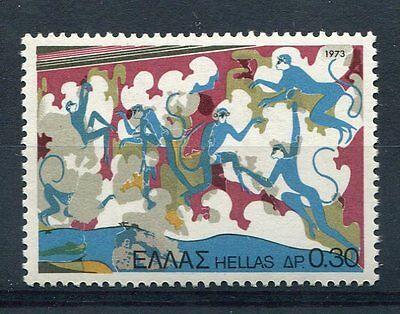 Europa Grece Briefmarken 1973,timbre1102,kunst,wandbild Affen Blautöne,archäologie,thera,neu Erfrischung