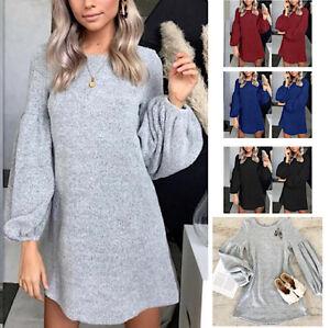Maglia Lunga Vestito Mini Donna Manica Palloncino Woman Mini Dress 110389 P