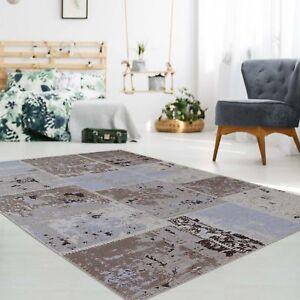 teppich baumwolle handgewebt flachflor patchwork beige braun rund rechteckig ebay. Black Bedroom Furniture Sets. Home Design Ideas