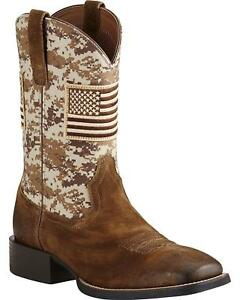 fa3ad64cf78 Details about Ariat Men's Sport Patriot Camo American Flag Boot Wide Square  Toe - 10019959