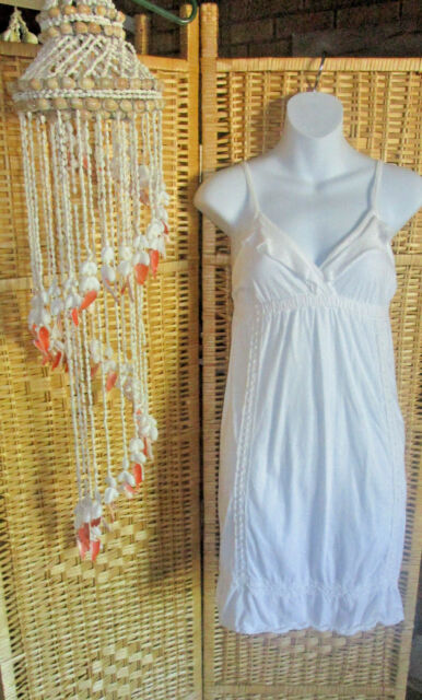 BILLABONG Dress White Knit with Crochet Lace and Ruffle Trim Size S