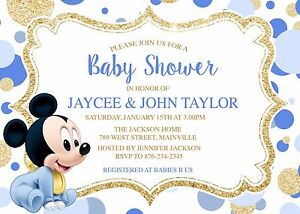Image Is Loading Mickey Mouse Baby Shower Invitation