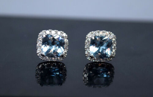 14K Solid White Gold Lab Halo Diamond Blue Cushion Cut Stud Earrings Screw 1.5Ct