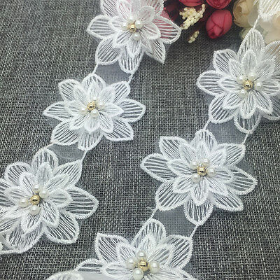 New 1 Yard 2-layer 70mm Embroidered Flower Applique Pearl Core Lace Trim #UK20