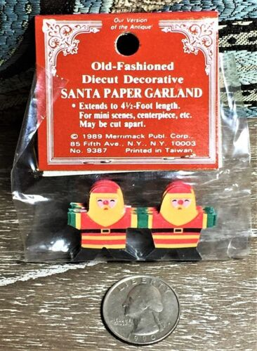 4.5FT Mint//Factory Sealed Merrimack Vintage MINIATURE SANTA CHRISTMAS GARLAND