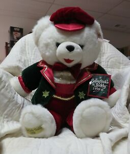 1998-Dan-Dee-Snowflake-Christmas-Teddy-Bear-Red-Green-Suit-Red-Hat