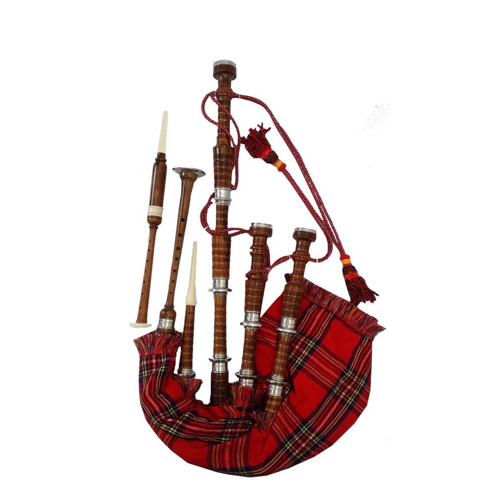 Scottish Great Highland Bagpipes pinkwood Natural Full Silver Mounts + Reed,Bag