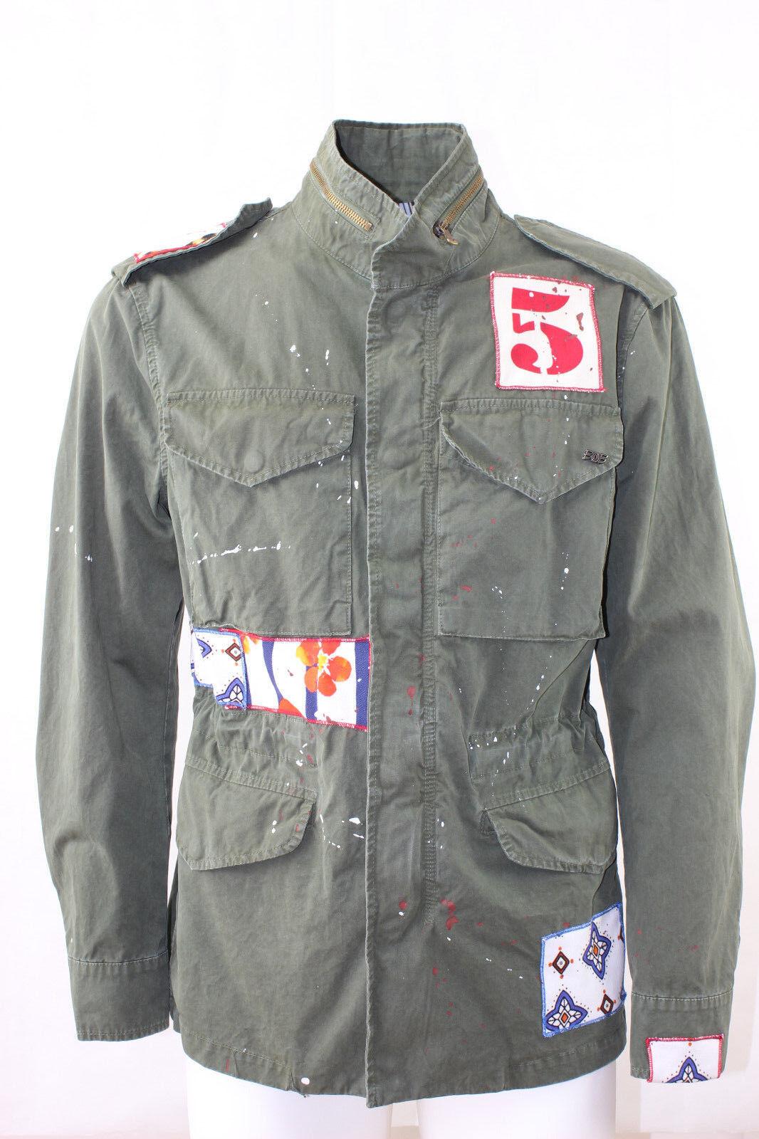 Mannen Jasje Bobslee Company met Logo Made in  Cotton Embgoudided groen