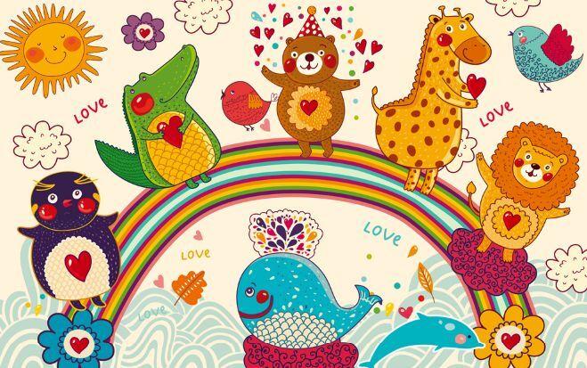 3D Tiere auf Regenbogen 88 Fototapeten Wandbild Fototapete BildTapete Familie DE