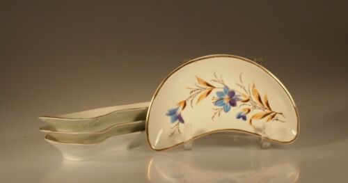 Antique Bone Dishes Set of 4 Handpainted Blue Flowers, England c. 1900