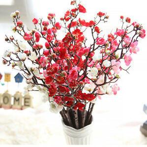 Seda-Artificial-Ramo-falso-Plum-blossom-flores-boda-fiesta-casa-decoracion-del-jardin