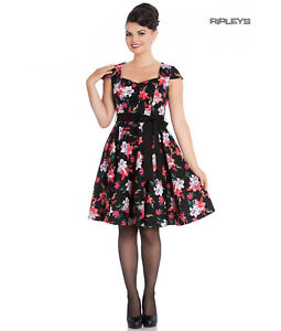 Hell-Bunny-Pin-Up-Mid-Length-50s-Dress-LILIANA-Lilly-Black-Flowers-Bow-All-Sizes