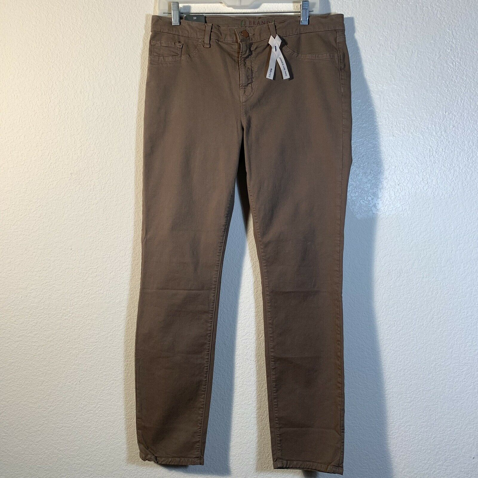 J Brand Taupe Japanese Luxe Twill Skinny Mid Rise Jeans Sz 32  NEW