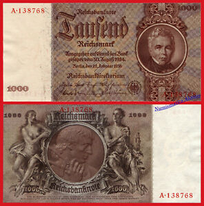 Alemania Germany 1000 Reichsmark Marcos 1924 1936 Pick 184 Sc- / Aunc