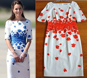 LK Bennett Lasa Blue Poppy Print Dress - Kate Middleton Dresses ...