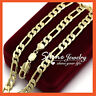 24K GOLD GF MENS WOMENS SOLID 6mm CURB RING LINK FIGARO CHAIN NECKLACE GIFT 60CM