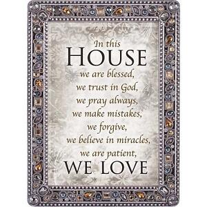 Details About In This House Trust Pray Love Jeweled Pewter Colored 5x7 Easel Back Photo Frame