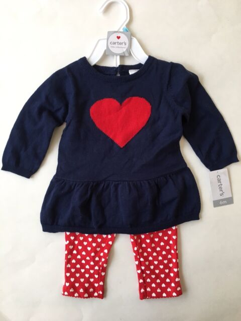 bbe4cee42 Carters Baby Girl 2 Piece Set Outfit Sweater   Leggings Hearts Size ...
