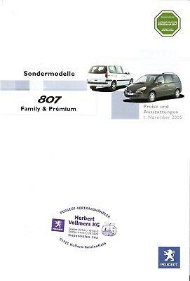 Ernstig Preisliste Peugeot 807 Family & Prémium 11/2005 Geschikt Voor Mannen, Vrouwen En Kinderen