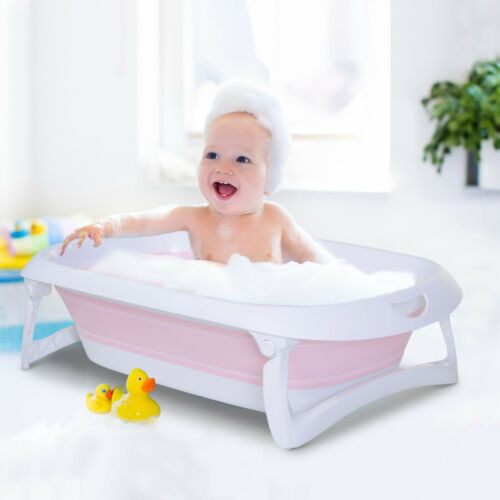 Folding Baby Bath Tub 36 Months Anti-Slip Stable Support Non Toxic Plastic