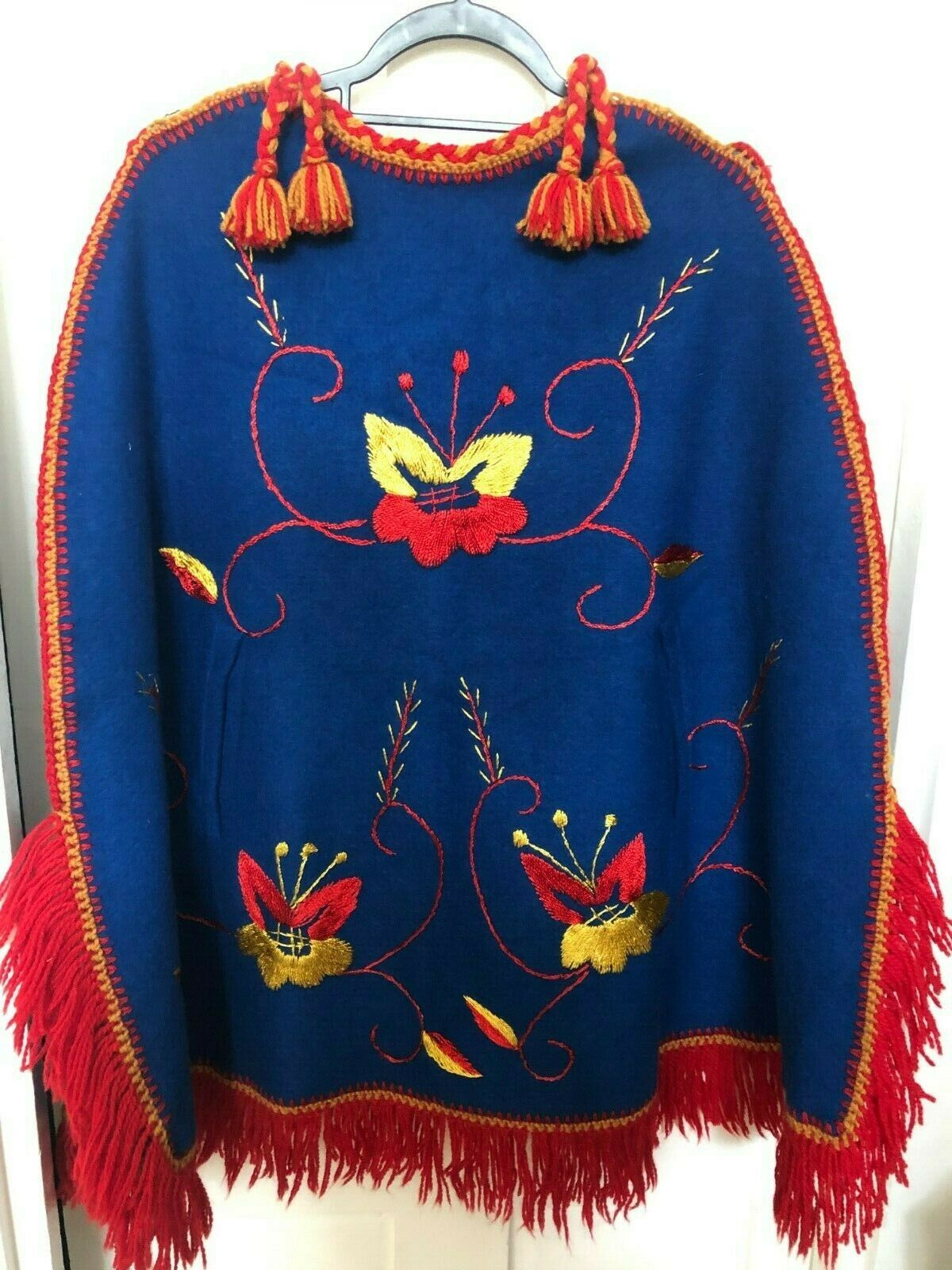 Amazing Vintage Mexican Poncho 1970s deadstock, embroidery, primary colours