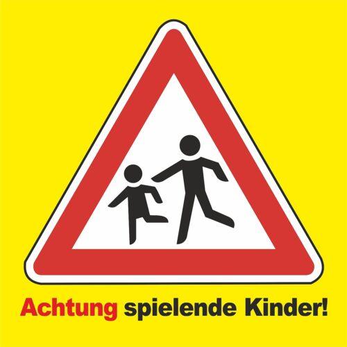"Weatherproof PVC Sign /""WARNING Playing Children/"" 40x40cm Large!!!"