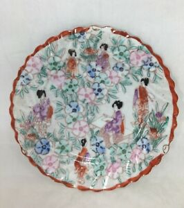 Scalloped-Plate-Soko-Fine-Porcelain-Vintage-Handpainted-Japan-Detailed-Scenery