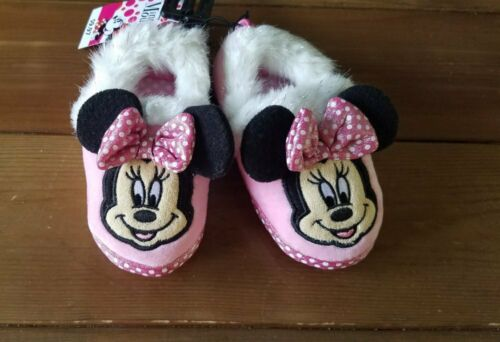New Girls Toddler Disney Minnie Mouse Slippers Size 7//8 9//10