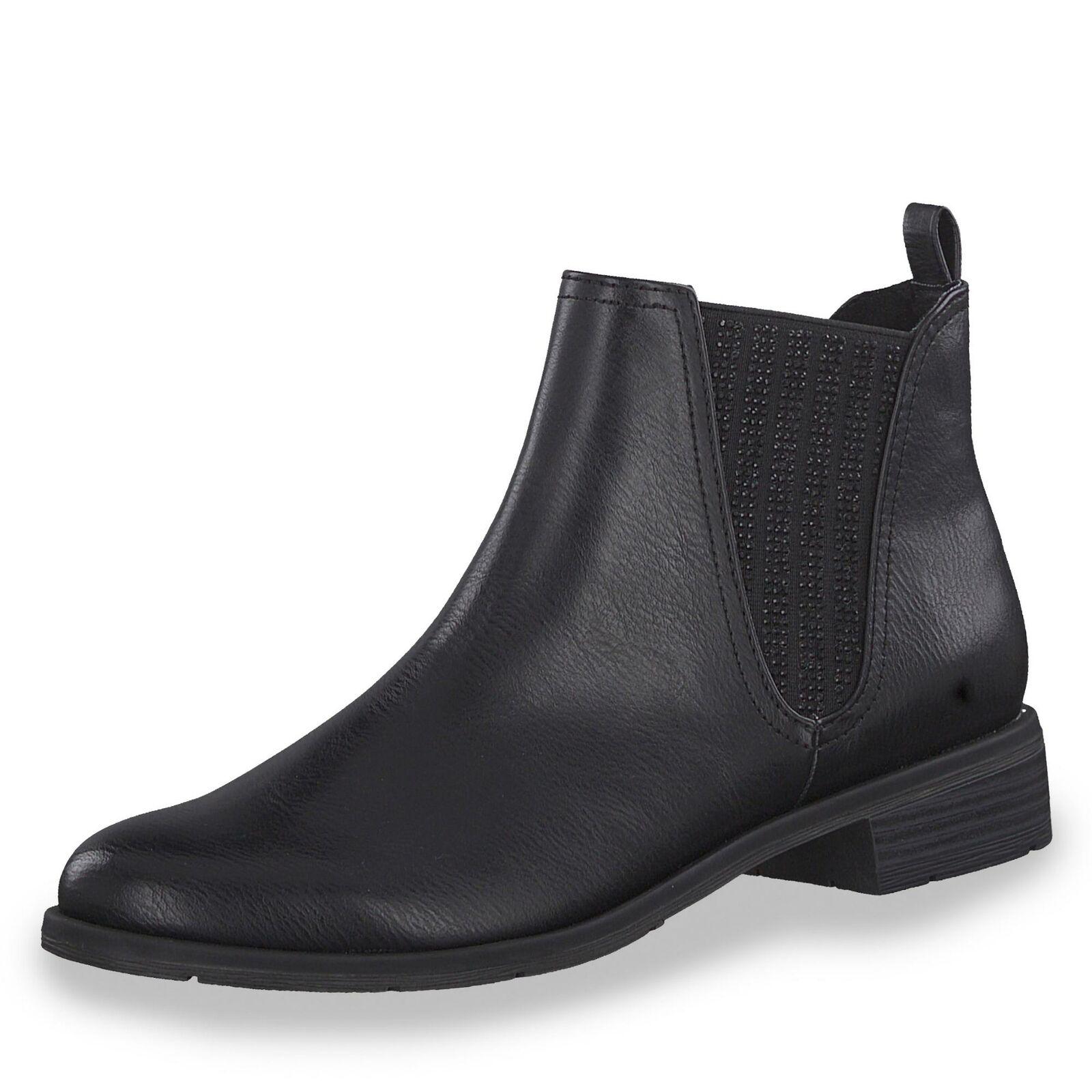 Marco Tozzi Damen Stiefelette Chelsea Stiefel Schlupfschuhe Herbst Schuhe schwarz