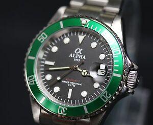 Detalles Adición Alfa Movimiento Ver Submariner Dial Reloj Bisel Verde De Limitado Original Negro Título Miyota VqGUzSMpL