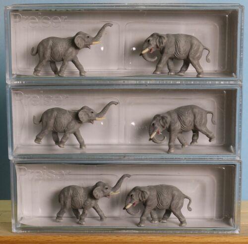 Preiser 79710 x  3, Elefantenherde 6-teilig Zoo Spur N passend für Zirkus