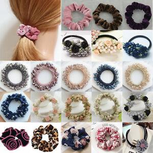 Samt-Perlen-Blume-Haargummi-Zopfgummi-Haarband-Pferdesschwanz-Haarband-Scrunchie