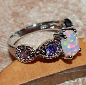 fire opal Amethyst ring gems silver jewelry 6.7 8.5 12 engagement cocktail band
