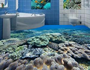 3D los arrecifes de coral del Mar 42 Piso impresión de parojo de papel pintado mural 5D AJ Wallpaper Reino Unido Limón