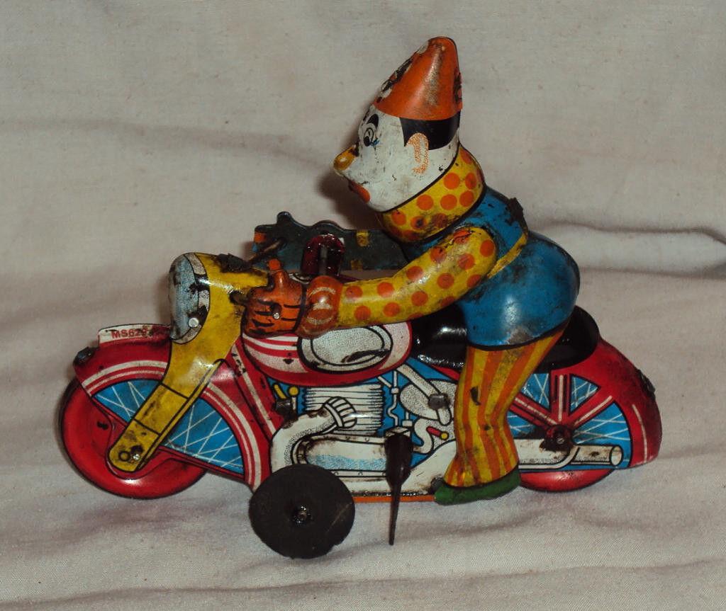CIRCUS JOKER cykel TINPLATE leksak 1950'S GÖR I japan årgång MODERN leksaker VINDUP