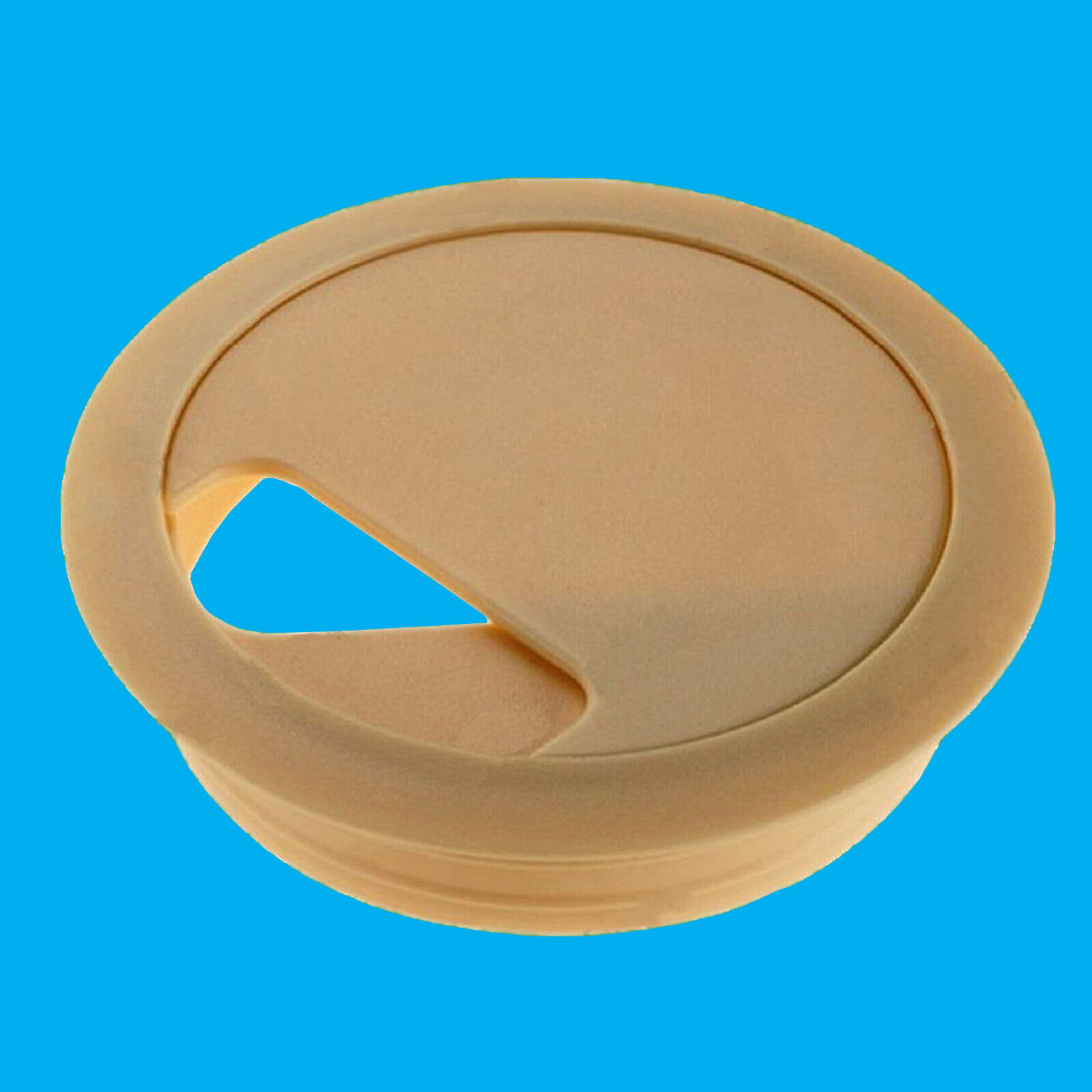 80mm Beige Computer Desk Table Grommet Cable Tidy Port Wire Hole Cover