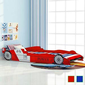vidaXL-Kinderbett-Rennwagen-Design-90x200cm-Autobett-Jugendbett-Bett-Rot-Blau