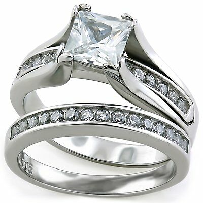 Stainless Steel Raised Square Princess 2.10ct CZ Wedding Promise Ring Band Set