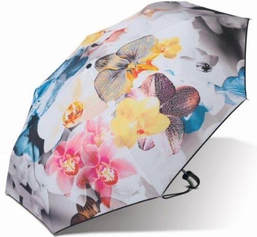 Blumen Orchideen Taschen-Schirm Kurz ESPRIT Damen-Regenschirm Auf-Zu-Automatik