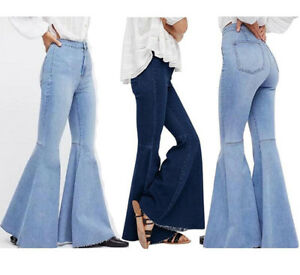 b66fa69500 2019 Womens Flare Bell Bottom Denim Pants High Waist Slim Bootcut ...