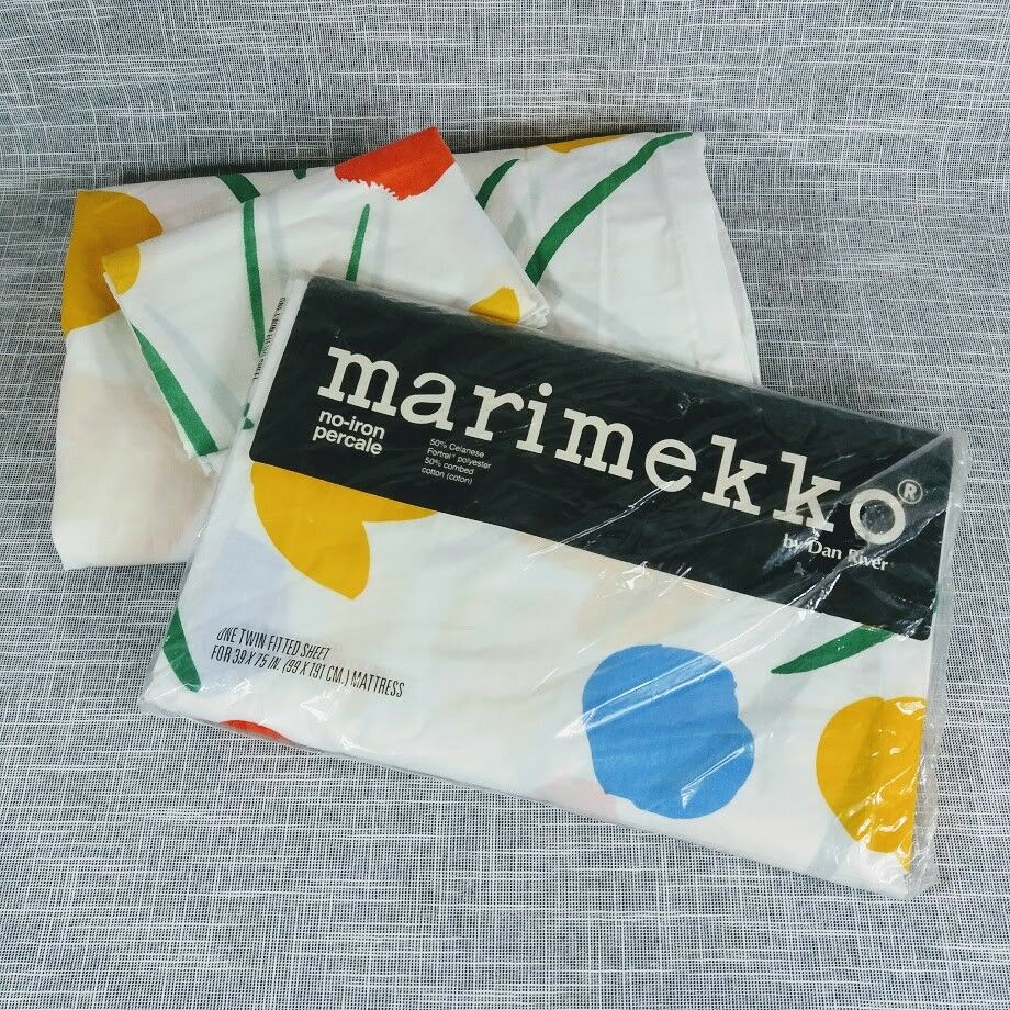 VTG Marimekko Seven Flowers Lot 2 Twin Fitted Sheet and Pillowcase 1978 1 NIP
