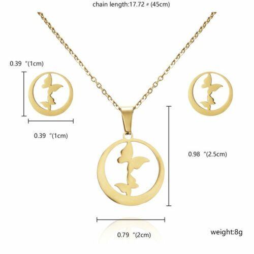 Fashion Gold Stainless Steel Jewelry Set Women Pendant Chain Necklace Earrings
