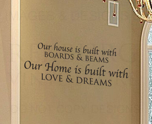 Wall Decal Quote Sticker Vinyl Art Letter Our House is Built Love and Dreams H03