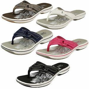 925f8a053c3 LADIES CLARKS BRINKLEY MILA TOE POST RIPTAPE STRAP SUMMER FLIP FLOP ...