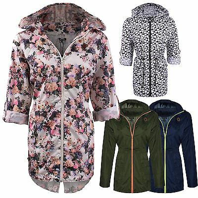 New Ladies Women Plain Parka Mac Hooded Waterproof Raincoat Fishtail Jacket Size