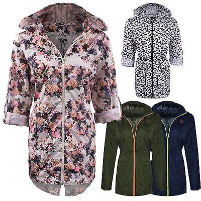 New Ladies Women Plain Parka Mac Hooded Waterproof Raincoat Fishtail Jacket Size