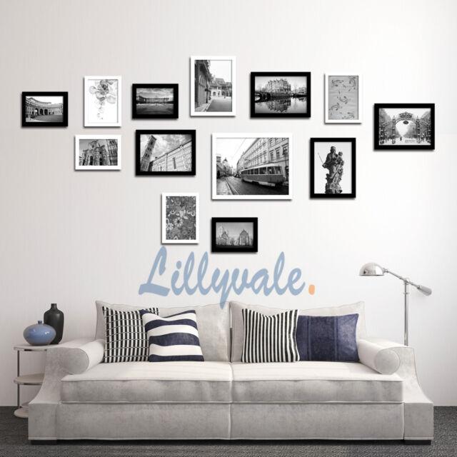 Black Multi Picture Photo Frames Wall Set 13pcs 125cm X 60cm Art