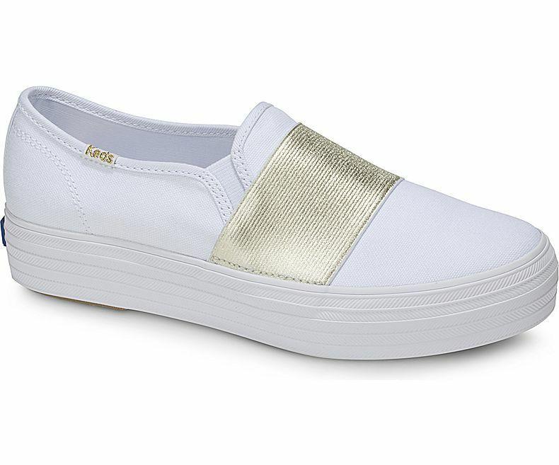 Keds WF58044 Women's shoes Triple Bandeau Canvas Whie gold, 6.5 Med