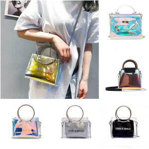 Da-Donna-Gelatina-Trasparente-in-PVC-LASER-spalla-Crossbody-Tote-Bag-Handbag-Bag-Purse